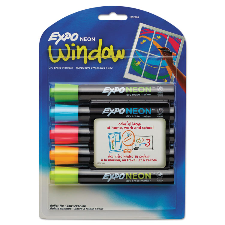 Expo Neon Dry Erase Marker  Bullet Tip  Assorted  5-Pack 1752226