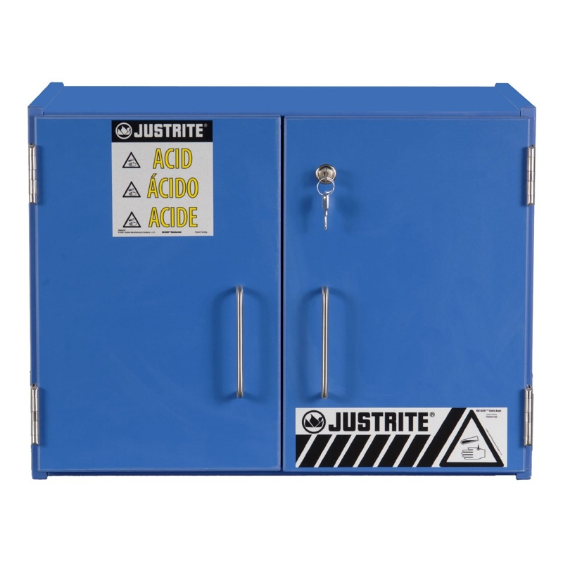 Justrite 24120 Wood Laminate Countertop Corrosive & Acid Chemical Storage Cabinet 24120