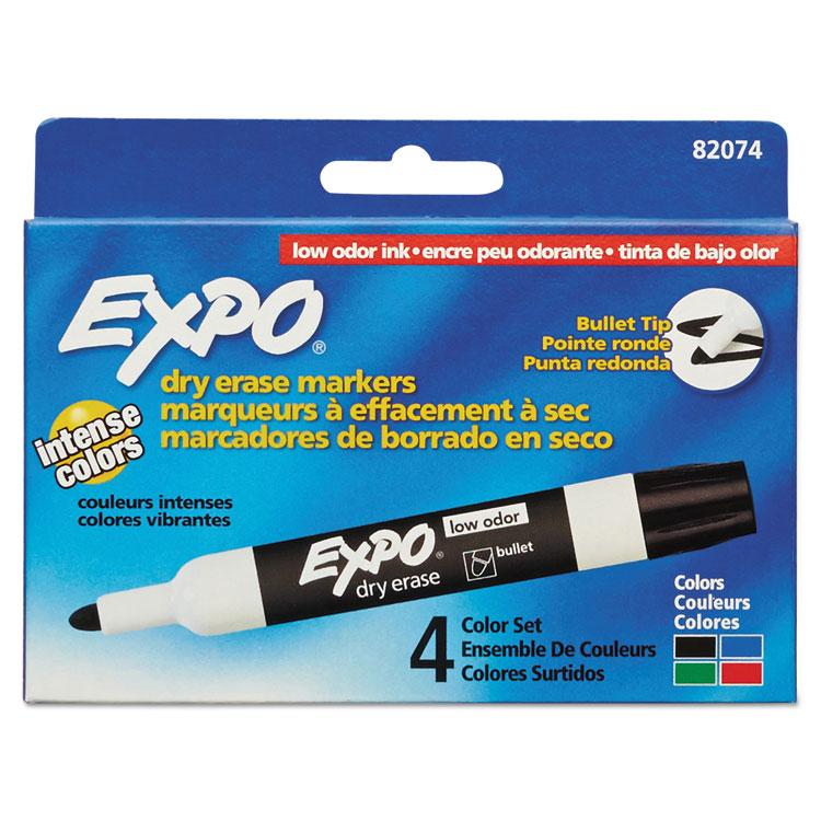 Expo Low-Odor Dry Erase Marker  Bullet Tip  Assorted  4-Pack 82074