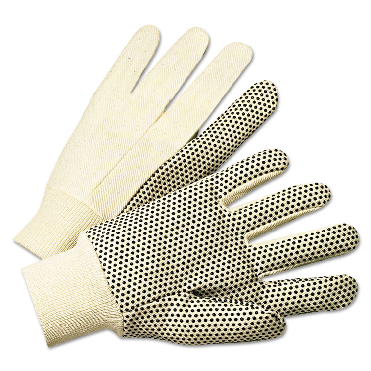 Anchor Pvc-dotted Canvas Gloves White One Size Fits All 12/pairs