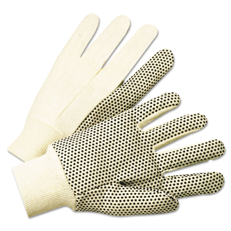 Anchor 1000 Series Pvc Dotted Canvas Gloves White/black Large 12/pairs