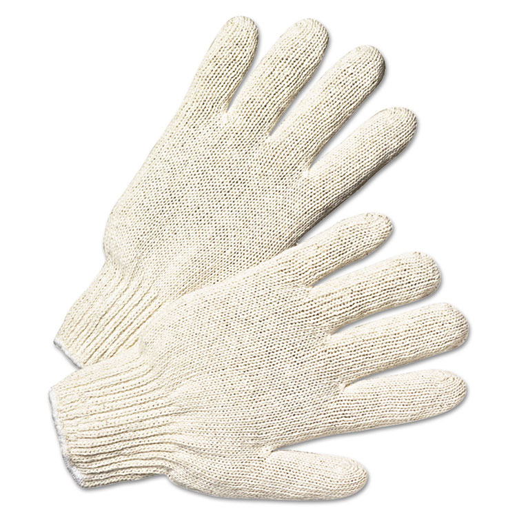 Anchor Brand String Knit Gloves Large Natural White 12/pairs