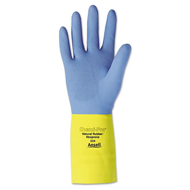 Ansellpro Chemi-pro Neoprene Gloves Blue/yellow Size 10 12/pair