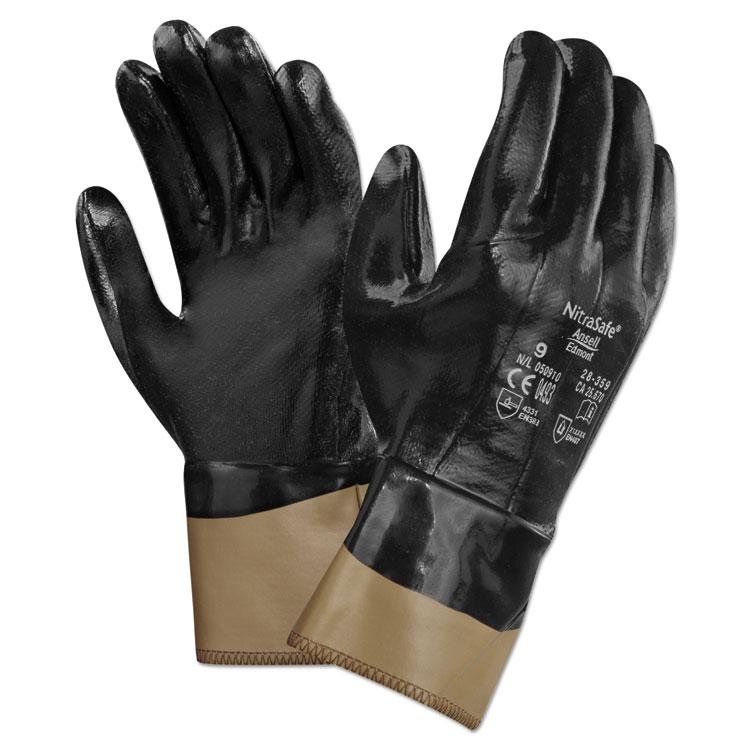 Ansellpro Nitrasafe Kevlar Work Gloves Size 10 Kevlar/nitrile/jersey Black/brown 12/pairs