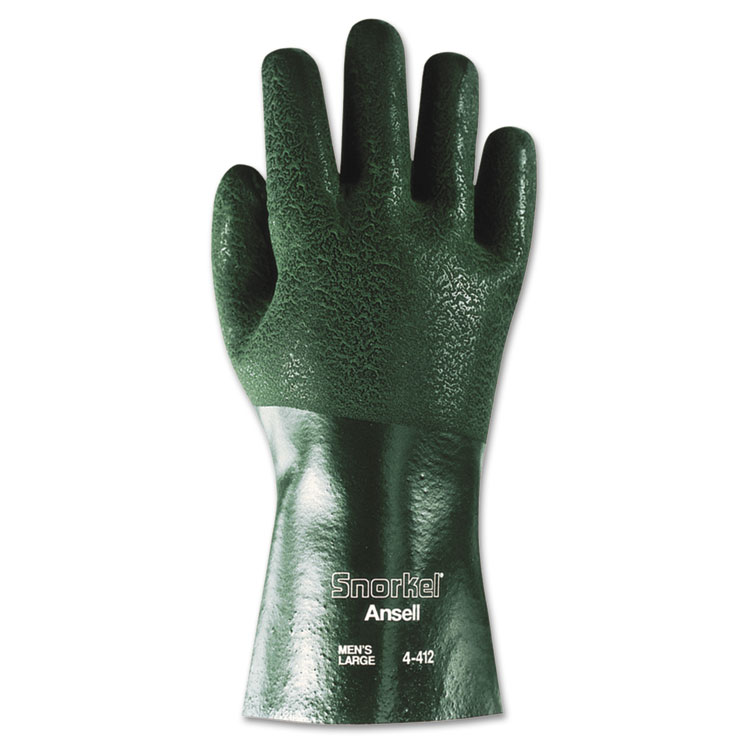 Ansellpro Snorkel Chemical-resistant Gloves Size 10 Pvc/nitrile Green 12/pair