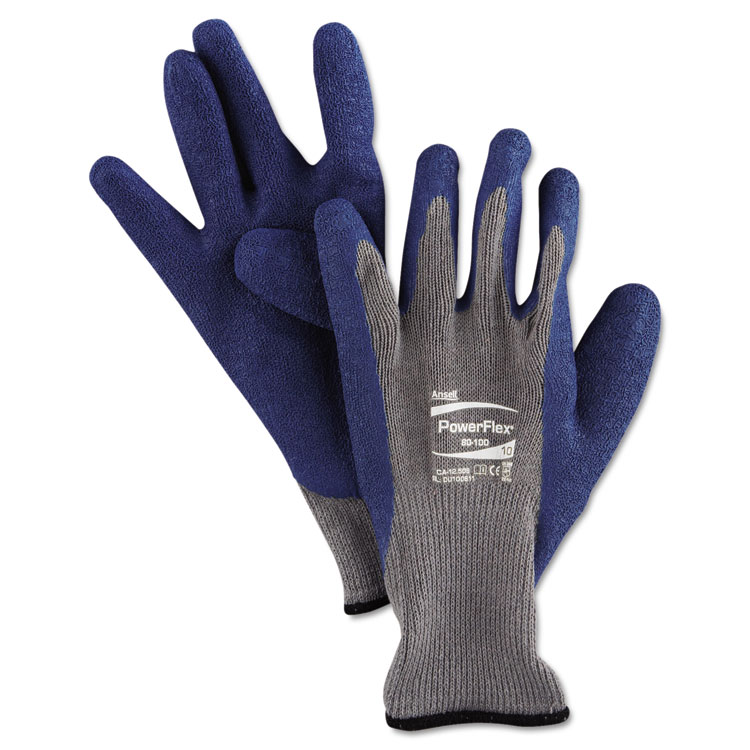 Ansellpro Powerflex Gloves Blue/gray Size 10 12 Pairs