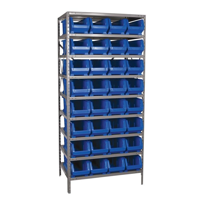"""Akro-mils 9-shelf 24"""" D Steel Shelving Unit With 32 Super-size Akrobins"""