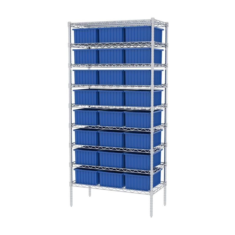 """Akro-mils 9-shelf 18"""" D Wire Shelving Unit With 24 Akro-grid Bins"""