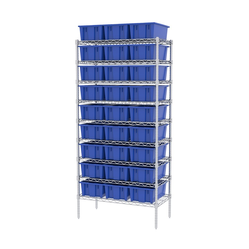 "Akro-mils 9-shelf 18"" D Wire Shelving Unit With 30 Nest & Stack Tote Bins"