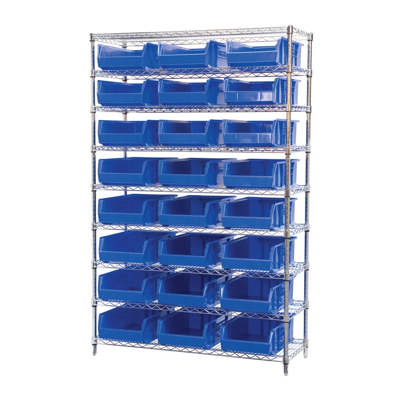 "Akro-mils 9-shelf 18"" D Wire Shelving Unit With 24 Super-size Akrobins"