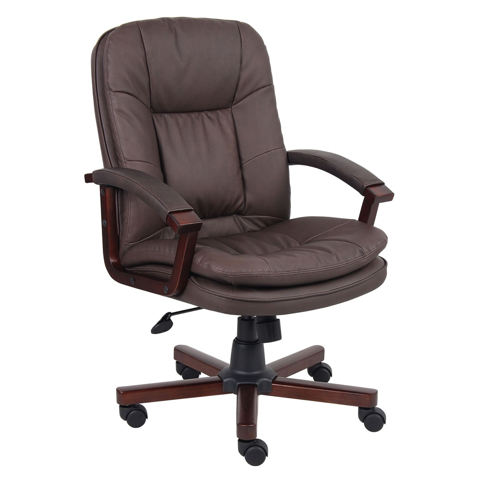 Boss B796-vsbn Pillow-top Leatherplus Wood Mid-back Executive Office Chair