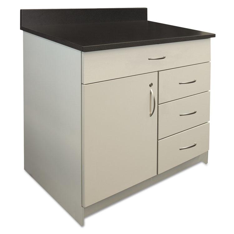 "Alera Plus 36"" W X 24"" D 4-drawer/door Hospitality Cabinet Base Grey/granite Nebula"