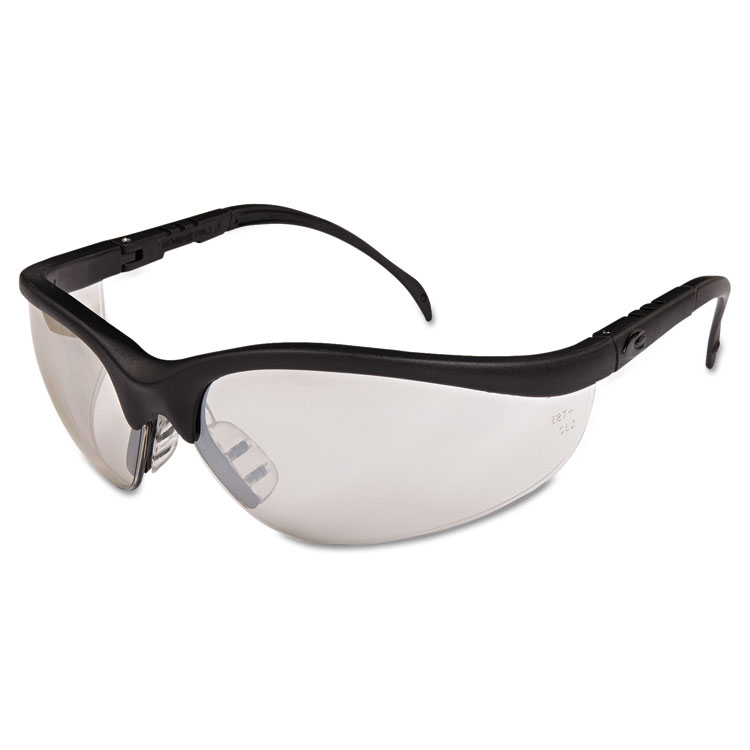 Crews Klondike Safety Glasses  Black Matte Frame  Clear Mirror Lens  12 Pack KD119BX