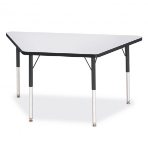 "Jonti-Craft Berries 48"" W x 24"" D Trapezoid-Shaped Classroom Activity Table (Shown in Grey/Black)"