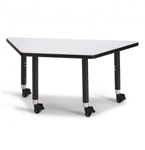 "Jonti-Craft Berries 60"" W x 30"" D Trapezoid-Shaped Mobile Classroom Activity Table (Shown in Grey/Black)"