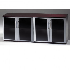 mayline vlcg 72 w low wall cabinet with glass doors. Black Bedroom Furniture Sets. Home Design Ideas