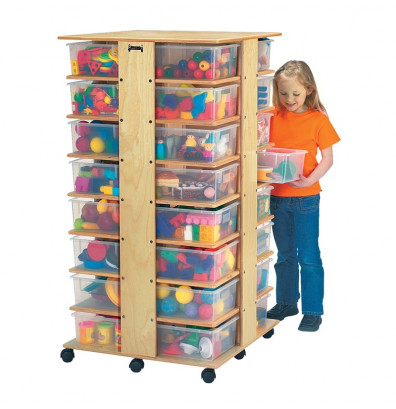 Jonti-Craft 32 Tub Tower Cubbie Storage Unit with Clear Tubs