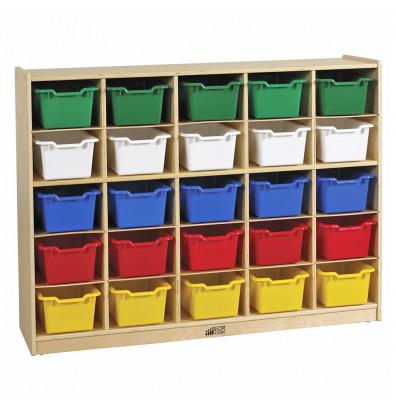 ECR4Kids Birch 25 Cubby-Tray Classroom Storage Cabinet with Bins (Shown with Assorted Bins)