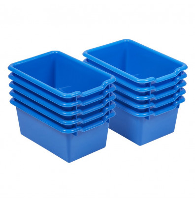 ECR4Kids Scoop Front Classroom Plastic Storage Bins, 10 Pack (Shown in Blue)
