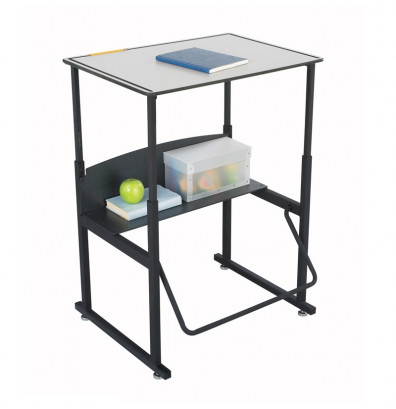 "Safco AlphaBetter 1203GR 28"" x 20"" Premium Height Adjustable Stand-Up Student Desk (example of use)"