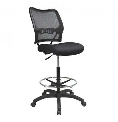 Office Star Space Seating Deluxe AirGrid Mesh-Back Drafting Chair (Shown in Black)