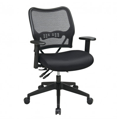 Office Star Space Seating Deluxe AirGrid Mesh Mid-Back Task Chair, Black