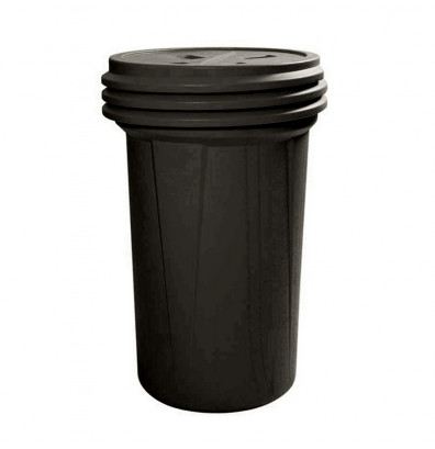 Eagle 1657BLK Lab Pack Screw Lid Poly Drum, 55 Gallons, Black