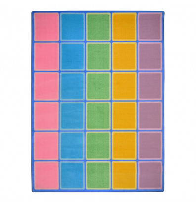 Joy Carpets Blocks Abound Rectangle Classroom Rug, Pastel