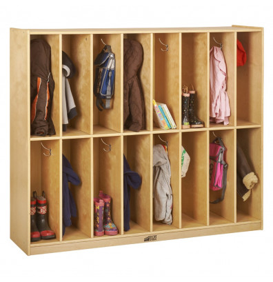 ECR4Kids Birch 16-Section Streamline Cubby Coat Locker