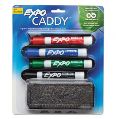 Expo Mountable Whiteboard Caddy with 1 Eraser & 4 Markers