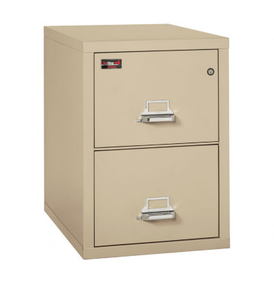 """FireKing 2-Drawer 31"""" Deep 2-Hour Rated Fireproof File Cabinet, Letter - Shown in Parchment"""