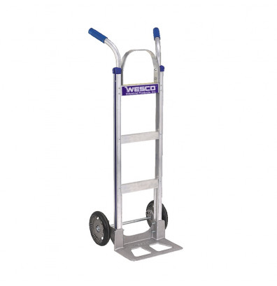 "Wesco 450T18BC10 Cobra-Lite Series 450 Aluminum Hand Truck 7.5"" x 18"" Nose 560 lbs Capacity 10"" Poly/Ballon Cushion Wheels"