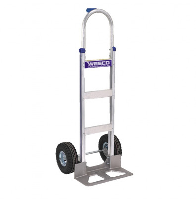"Wesco 420T18PE Cobra-Lite Series 420 Aluminum Hand Truck 7.5"" x 18"" Nose 600 lbs Capacity 10"" Steel/Pneumatic Wheels (Hand Trucks)"