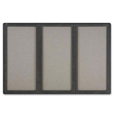 Quartet 2367L Indoor 3 Door 6 ft. x 4 ft. Graphite Frame Enclosed Fabric Bulletin Board