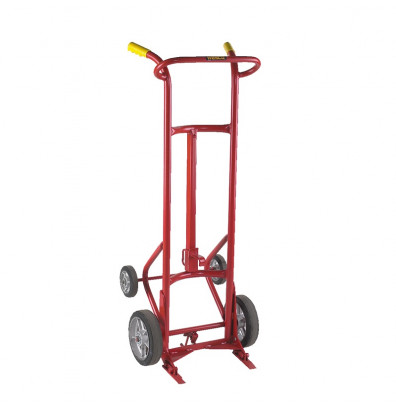 Wesco 15BT Deluxe 1000 lb Load Four-Wheel Steel Drum Hand Truck, Moldon Rubber Wheels