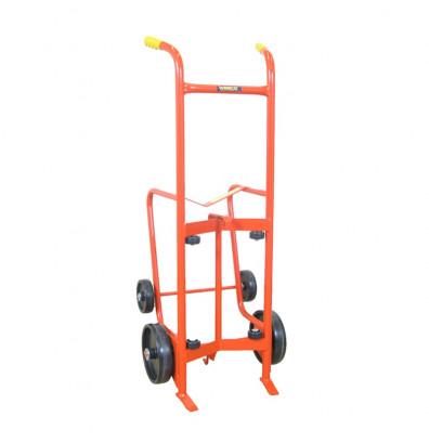 Wesco 30BTW Drain Stand 1000 lb Load 4-Wheel Steel Drum Hand Truck, Polyolefin wheels