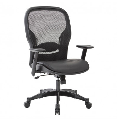 Office Star Professional Mesh-Back Eco-Leather High-Back Executive Office Chair (Model 2400E)