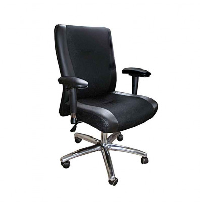 Mayline Mercado 2522 Mesh-Back Genuine Leather Mid-Back Executive Office Chair