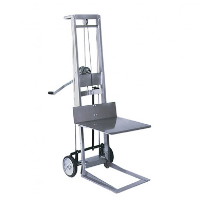 "Wesco WMPL-40-2022 Two Wheel 40"" Lift Manual Hand Winch Platform Stacker"