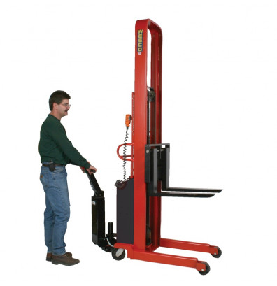 "Wesco PSFL-86-42-42S-1.5K-PD 86"" Lift 1500 lb Load Powered Fork Stacker with Power Drive"