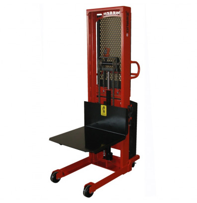 "Wesco PSPL-90-2427-20S-2K-PD 90"" Lift 2000 lb Load Platform Powered Stacker with Power Drive"