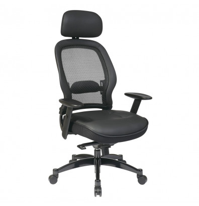 Office Star Professional Mesh-Back Leather High-Back Executive Office Chair (Model 27008)