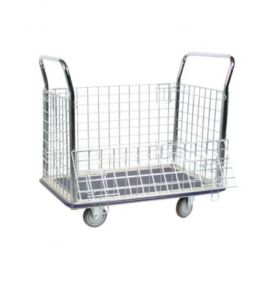 "Wesco Wire Caged 660 lb Load 23"" x 35"" Steel Platform Cart 270456"