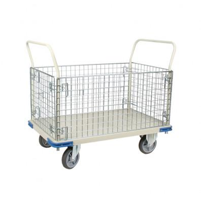 "Wesco Wire Caged 1100 lb Load 30"" x 48"" Steel Platform Cart 270461"