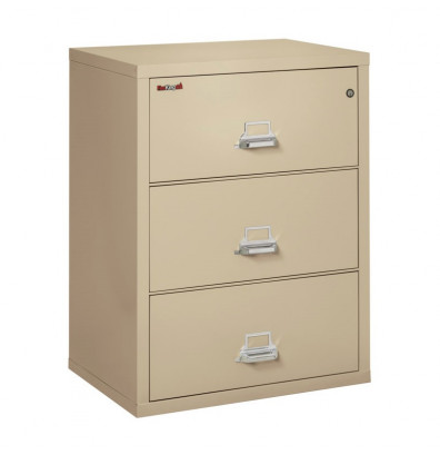 "FireKing 3-Drawer 31"" Wide 1-Hour Rated Lateral Fireproof File Cabinet - Shown in Parchment"