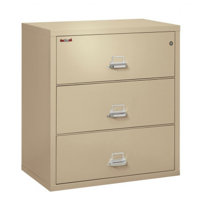 "FireKing 3-Drawer 38"" Wide 1-Hour Rated Lateral Fireproof File Cabinet - Shown in Parchment"