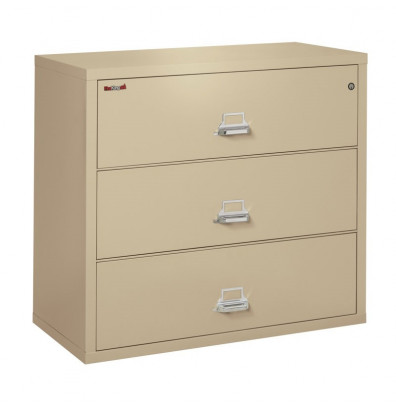 "FireKing 3-Drawer 44"" Wide 1-Hour Rated Lateral Fireproof File Cabinet - Shown in Parchment"