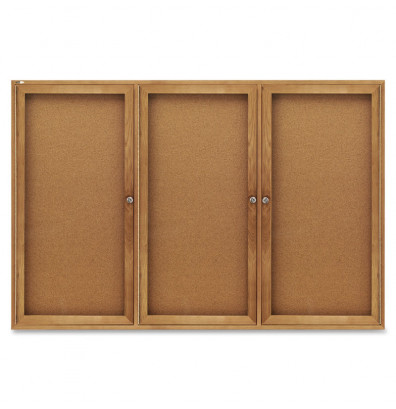 Quartet 367 Indoor 3 Door 6 ft x 4 ft. Oak Frame Enclosed Cork Bulletin Board