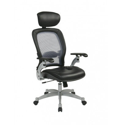 Office Star Space Seating Professional Light AirGrid Mesh Back Leather  High Back Executive Chair