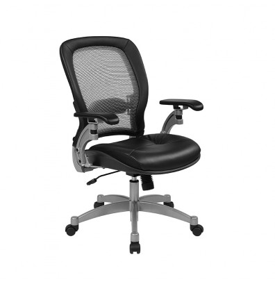 Office Star Professional Light AirGrid Mesh-Back Leather Mid-Back Managers Chair (Model 3680)